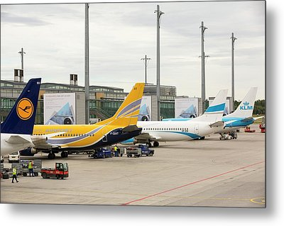 Planes On The Tarmac At Oslo Airport Metal Print by Ashley Cooper