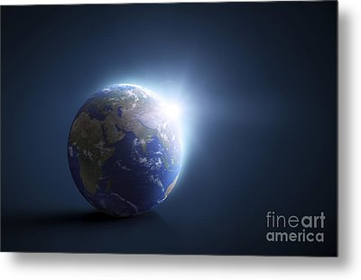 Planet Earth And Sunlight On A Dark Metal Print by Evgeny Kuklev