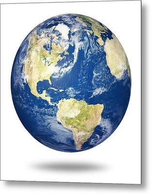 Planet Earth On White - America Metal Print