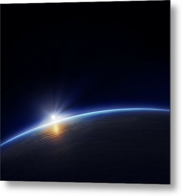 Planet Earth With Rising Sun Metal Print