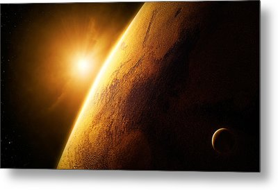 Planet Mars Close-up With Sunrise Metal Print