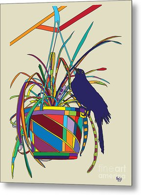 Plant Bird Pop Metal Print by Megan Dirsa-DuBois