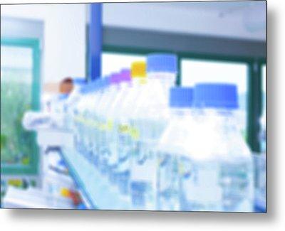 Plastic Bottles In Lab Metal Print