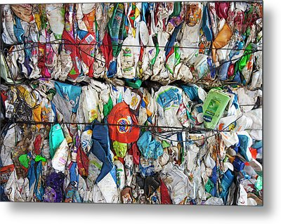 Plastic Packaging At A Recycling Centre Metal Print