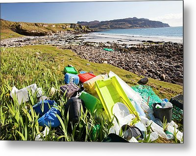 Plastic Rubbish At The Singing Sands Metal Print by Ashley Cooper
