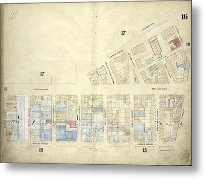 Plate 16 Map Bounded By West Broadway, Varick Street Metal Print by Litz Collection