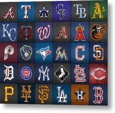 Play Ball Recycled Vintage Baseball Team Logo License Plate Art Metal Print by Design Turnpike