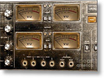 Playback Recording Vu Meters Grunge Metal Print
