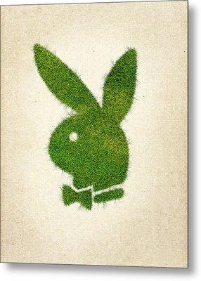 Playboy Grass Logo Metal Print by Aged Pixel
