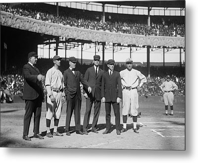 Players And Umps - 1921 World Series Metal Print by Mountain Dreams