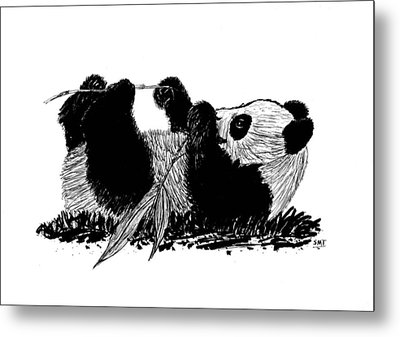 Playful Panda Metal Print