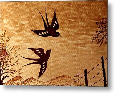 Metal Print featuring the painting Playful Swallows Original Coffee Painting by Georgeta  Blanaru