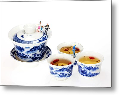 Playing Among Blue-and-white Porcelain Little People On Food Metal Print by Paul Ge