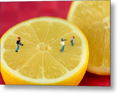 Playing Baseball On Lemon Metal Print by Paul Ge