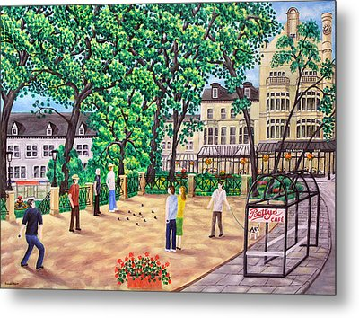 Playing Boules At Betty's Cafe- Harrogate Metal Print by Ronald Haber