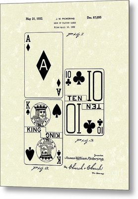 Playing Cards 1869 Patent Art Metal Print by Prior Art Design