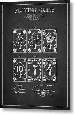 Playing Cards  Patent Drawing From 1877 - Dark Metal Print by Aged Pixel