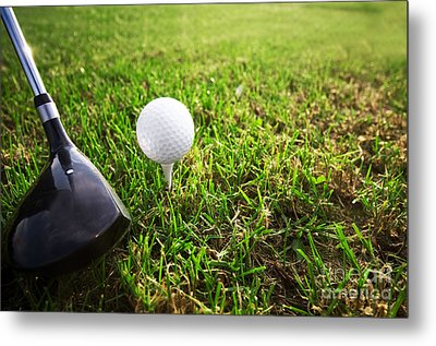 Playing Golf. Club And Ball On Tee Metal Print by Michal Bednarek