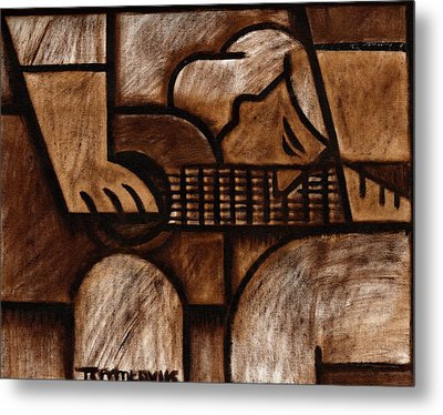 Tommervik Man Playing Acoustic Guitar Art Metal Print