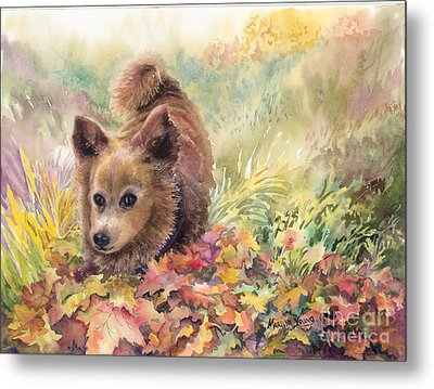 Playing In The Leaves Metal Print by Marilyn Young