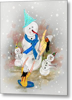 Playing In The Snow Metal Print by Dumindu Shanaka