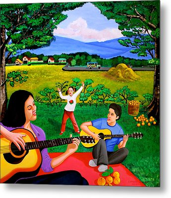 Playing Melodies Under The Shade Of Trees Metal Print by Cyril Maza
