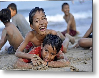 Playing On The Beach Metal Print by Achmad Bachtiar