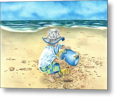 Playing On The Beach Metal Print by Troy Levesque