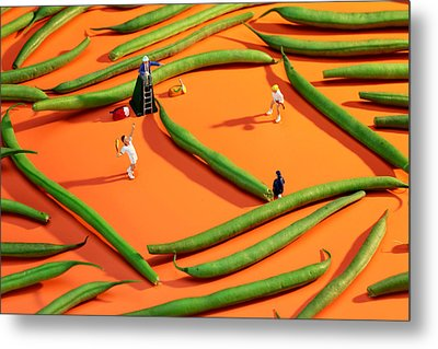 Playing Tennis Among French Beans Little People On Food Metal Print by Paul Ge