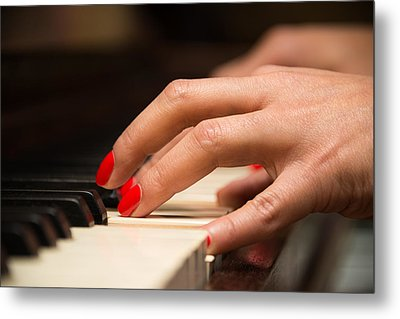 Playing The Piano Metal Print
