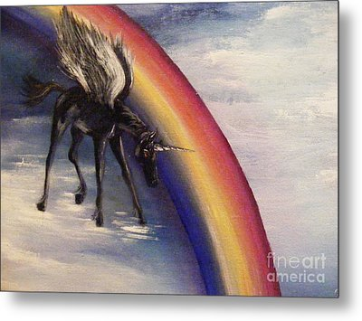 Playing With Rainbow Metal Print by Karen  Ferrand Carroll