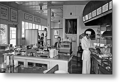 Playland Restaurant Interior Metal Print by Underwood Archives