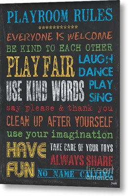 Playroom Rules Metal Print by Debbie DeWitt