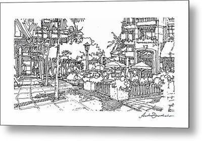 Metal Print featuring the drawing Plaza by Andrew Drozdowicz