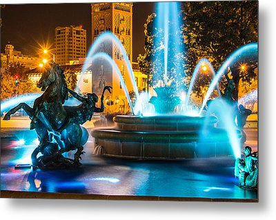 Plaza Blue Fountain Metal Print
