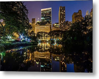Plaza Hotel Reflected In Central Park Pond Metal Print