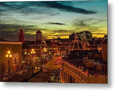 Plaza Lights At Sunset Metal Print