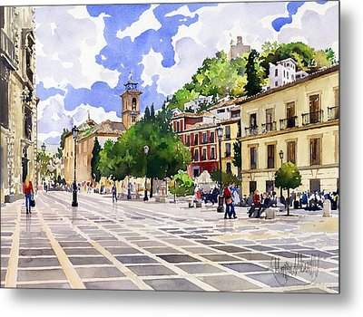 Plaza Nueva And Santa Ana Church Granada Metal Print by Margaret Merry