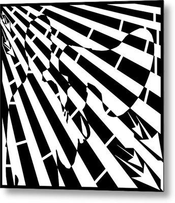 Please Step Away Maze  Metal Print by Yonatan Frimer Maze Artist