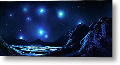 Pleiades Cluster Seen From Nearby Planet Metal Print by Mark Garlick