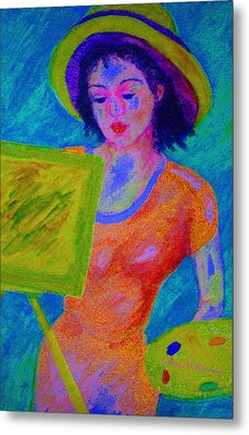Plein Air Artist  In The Flow Metal Print