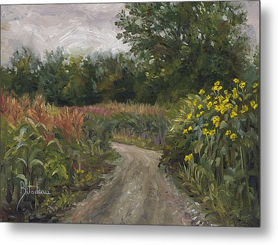 Plein Air - Corn Field Metal Print by Lucie Bilodeau