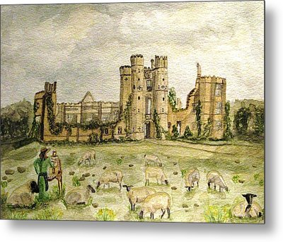 Plein Air Painting At Cowdray House Sussex Metal Print by Angela Davies