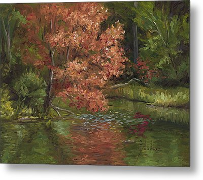 Plein Air - Red Tree Metal Print by Lucie Bilodeau