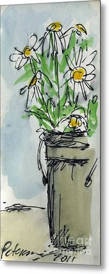 Plein Air Sketchbook. Ventura California 2011.  Tall Bucket Of Daisies From My Backyard Metal Print by Cathy Peterson