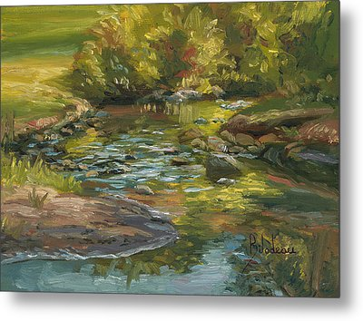 Plein Air - Stream In Forest Park Metal Print by Lucie Bilodeau