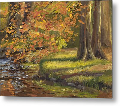 Plein Air - Trees And Stream Metal Print by Lucie Bilodeau