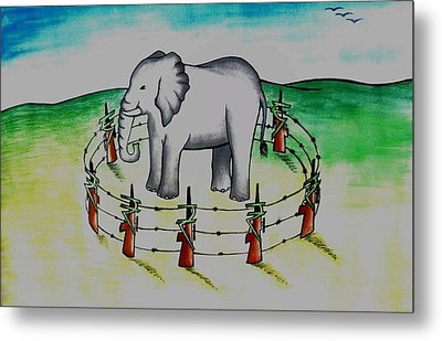 Plight Of Elephants Metal Print by Tanmay Singh