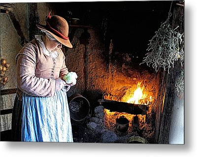 Plimoth Plantation  Pilgrim Fireplace Cooking Metal Print by Constantine Gregory