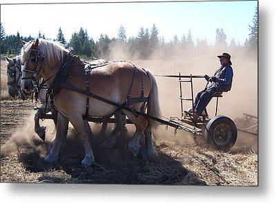 Plough Horses At Work Metal Print